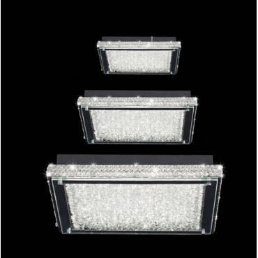 Plafon LED cuadrado cristal cromo.