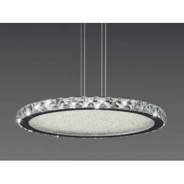 Lampara LED redonda con detalles de cristal.