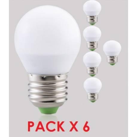 Pack de 6 bombillas led esfericas 5w , E27