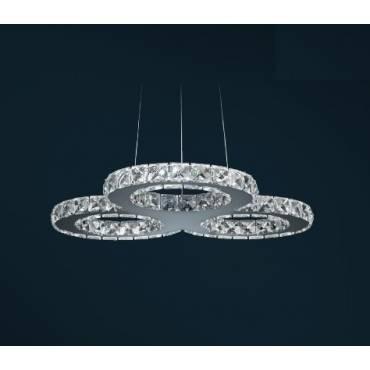 Colgante LED ARGÓN en cromo y cristal.
