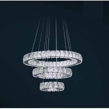 Colgante LED RADÓN en cromo y cristal.