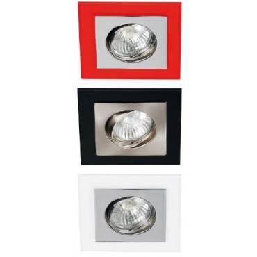 Foco empotrable cuadrado en cristal y aluminio, orientable.